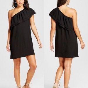 Xhilaration One-Shoulder Shift Dress Black NWT L